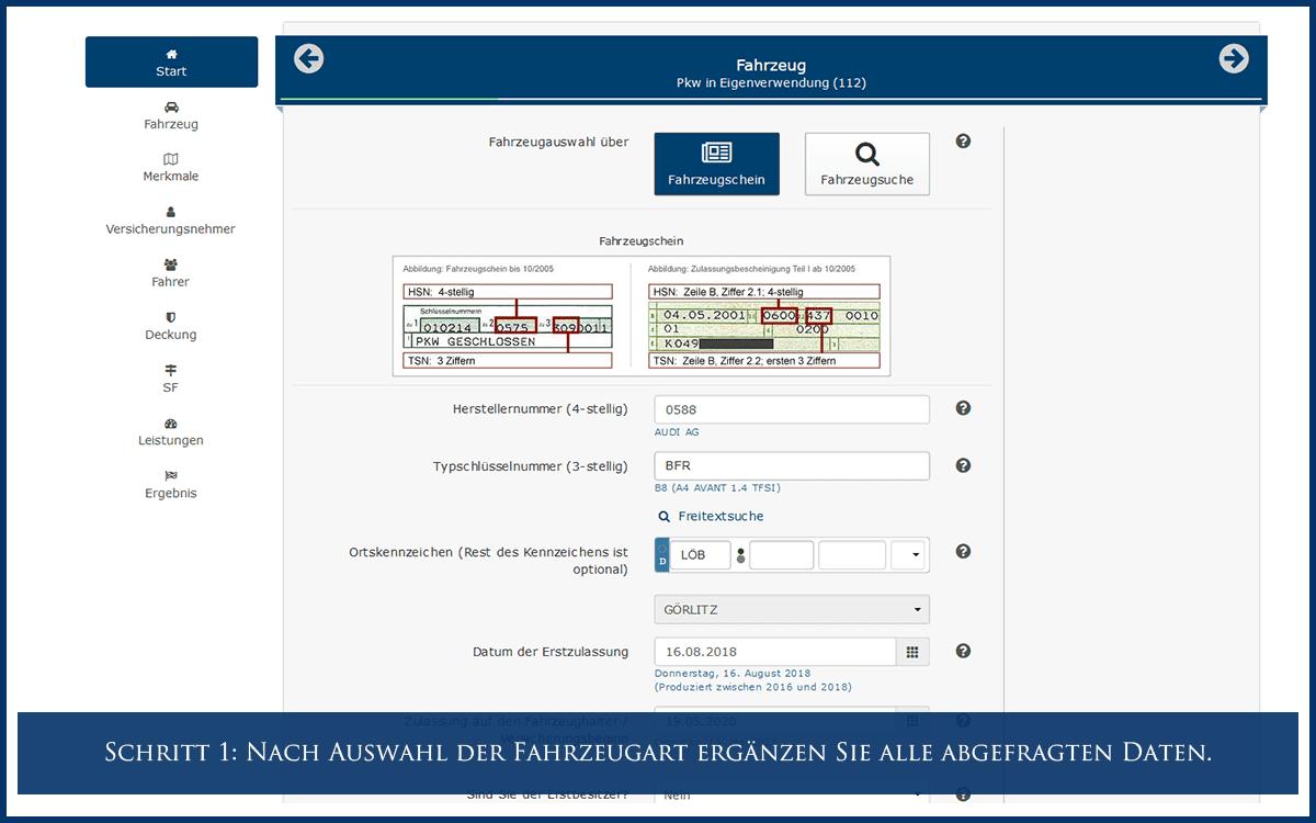 Schritt 1: Nach Auswahl der Fahrzeugart ergänzen Sie alle abgefragten Daten.